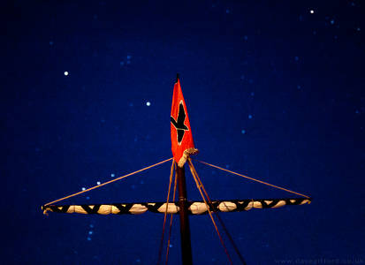 Raven Banner Beneath the Stars