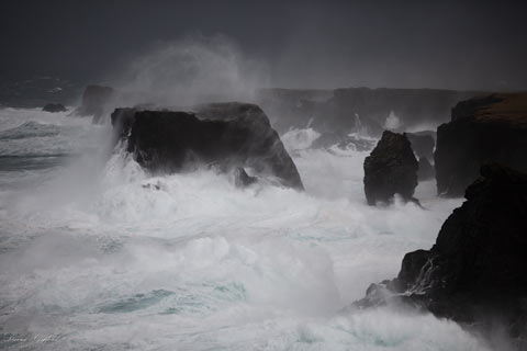 Storm Waves Hitting Moo Stack and the Cliffs of Eshaness